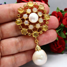 REAL BAROQUE WITH ROUND PEARL & WHITE WITH YELLOW OPAL BROOCH-PENDANT 925 SILVER