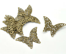 "10 BUTTERFLY Antique Bronzed FILIGREE WRAPS 1-5/8"" x 1-1/8"" (41mm) (15820)"