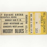 THE MOODY BLUES Concert Ticket Stub INDIANAPOLIS 11/6/78 MARKET OCTAVE TOUR Rare