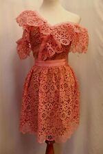 NWT Self-Portrait Lace Frill Pink Off The Shoulder Mini Dress US 2 UK 6 XS S