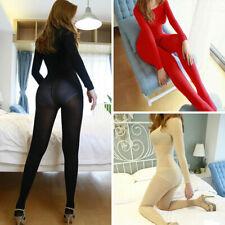 Lady Full Bodyhose Super Elastic Bodysuit Open/Closed Crotch Velvet Bodystocking