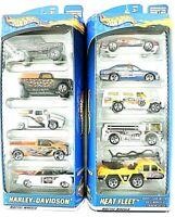 2 HOT WHEELS 2000 Mattel 5 Vehicle Packs HEAT FLEET+HARLEY DAVIDSON Unopen MINT