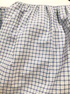 Laura Ashley King Cornflower Blue Plaid Bedskirt Split Corners USA