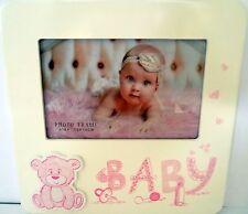 "KEEPSAKE ""BABY"" PHOTO FRAME WITH 3D PINK TEDDY BEAR CHRISTENING NEWBORN GIFT BN"