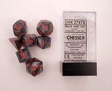 Chessex 7 Dice Set Velvet Black w Red CHX 27478 for D&D & D20