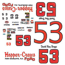 #53 David Ray Boggs Harper-Crews Ford 1/64th Scale Slot Car Waterslide Decals