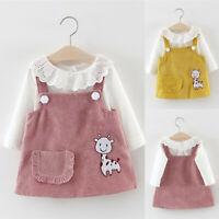 Infant Baby Girl Fall Winter Long Sleeve Cartoon Splice Princess Dress Clothes T