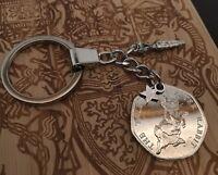 Tales of Peter Rabbit UNC 50p Beatrix Potter coin KEYRING girl boy Birthday gift