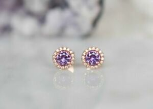 14k Rose Gold Over 1.50 Ct Round Cut Amethyst Classic Halo Wedding Stud Earrings