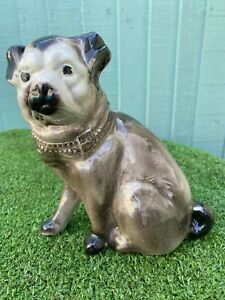 SUPERB 19thC STAFFORDSHIRE SEATED PUG DOG WITH SEPARATE FRONT LEGS c1890s
