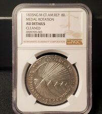 1835 Central America Republic Guatemala 8 Reales Silver Coin - NGC AU Details
