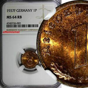 GERMANY-Third Reich 1937 F 1 Reichspfennig NGC MS64 RB TOP GRADED  KM# 89 (002)