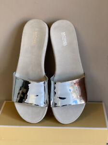 Michael Kors Duke Slide Mirror Metallic Sandals New In Box UK Size 7