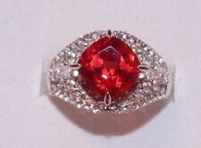 4.00 SQUARE CUSSION CUT PADPARADSCHA SAPPHIRE W 1.10 TOPAZ ACCENTS SPARKLE RING