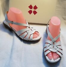 NIB Naturalizer N5 Convey White Leather Woven Open Toe Wedge Sandal Shoe 7.5 $70