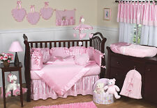 Cheap Discount Pink Chenille Satin Baby Crib Bedding Set for Newborn Girl Room