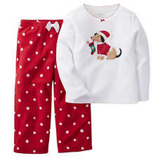 NWT Girls 12 CARTER'S 2pc Fleece Christmas Puppy Dog Pajama Set CUTE PAJAMAS
