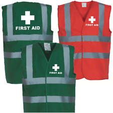 FIRST AID Printed Hi Vis Safety Vest Green  - High Viz Waistcoat Paramedic Medic