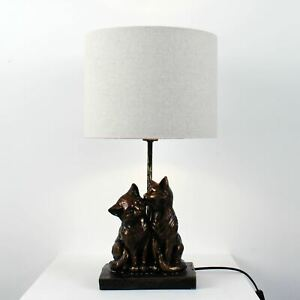 Kissing Cats Bronze Table Lamp Bedside Light with Off White Shade