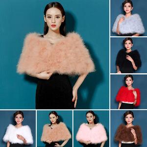 Noble Elegant Bridal Women Real Ostrich Feather Fur Cape Cape Stole Wrap 110cm