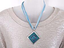 Turquoise Blue Enamel Pendant Necklace