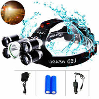 50000LM LED 18650 Headlamp Headlight Flashlight Torch Light 5 Head XM-L T6 Lamp