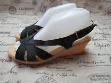 Spring Step Black Leather Slingback Strappy Wedge Heel Sandals Size 39 / 8.5