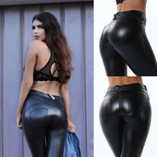 Femme Leggings Treggings Taille Haute Sexy Push Up Cuir Pantalon Simili 28- 42