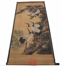 Antique Chinese painting scroll The fair figure Calligraphy and painting