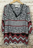 Alfred Dunner tunic shirt blouse womens 18W vneck 3/4 slv black coral top F9