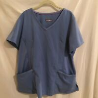 Healing Hands Purple Label Yoga Womens Blue Scrubs Top Stretch Size 2X