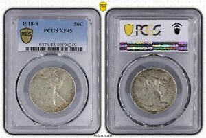 USA UNITED STATES 50 CENTS SILVER COIN 1918 S YEAR KM#142 PCGS XF45 LIBERTY