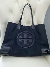 Tory Burch Ella Tote Nylon & Black Patent Leather