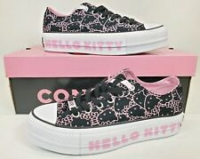 Converse Hello Kitty Size 9 Chuck Taylor All Star Platform Lift Ox Black & Pink