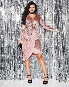 Simply Be By Night Wrap Asymmetric Dress Rose UK 18 LN110 FF 03
