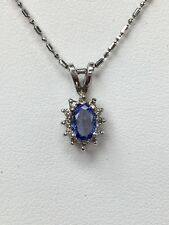 "10K White Gold Oval Shaped Tanzanite Pendant On 20"" White Gold Bead Chain"
