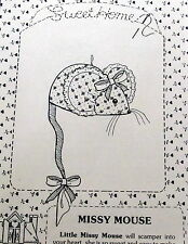 """Vtg Mouse Craft Pattern Sweet HOme Designs Missy Mice 3.5"""" soft sculpture"""