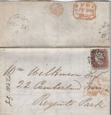 1842 QV GLASGOW MX MALTESE CROSS ON COVER WITH A 4 MARGIN 1d PENNY RED STAMP