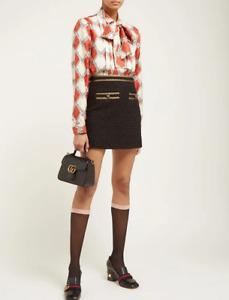 Gucci Women Logo Jacquard Nylon Knee High Cuff Socks Black Pink Size Small NWT!!