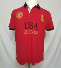 Polo Ralph Lauren Mens XL USA Chicago Rugby Polo Shirt Embroidered Red Slim Fit