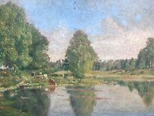 Très Belle Peinture De Gabriel Charles Deneux Paysage Vache Lac Impressionniste
