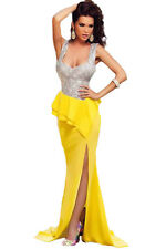 New Plus Size Yellow & Silver Sequin Long Prom Evening Cocktail Dress Size 12-14