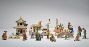 Mid 20th Century Chinese Set of Shiwan pottery Bonsai Display figurines