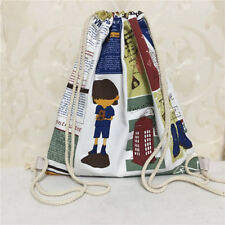 Cotton Heavy Canvas Drawstring Backpack Book Shoes Bag Illustrated English S