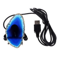 Natural Agate Slice/Geode USB Night Lamp Table Night Light on Iron Blue