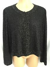 Stenay Beaded Black On Black Elegant Silk Cardigan L