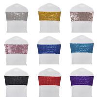 10/25/50/100 Stretch Spandex Sequins Chair Sash Cover Wedding Party Venue Decor