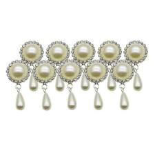 10x Drop Charms Round Pearl Rhinestone Flatback Embellishments Craft Wedding