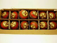 12 Vintage Red Christmas Ornaments Made In Japan with box 3""
