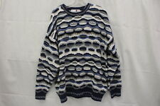 VINTAGE Mens FLORENCE TRICOT Multi-Color Textured Pull Over, Crew Sweater, Sz XL